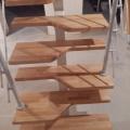 Лестница гусиный шаг - ступени бук лакированый