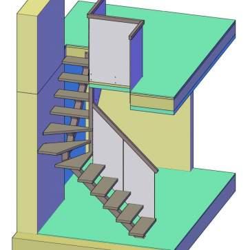 Лестница на одном косоуре с поворотом 3d -2