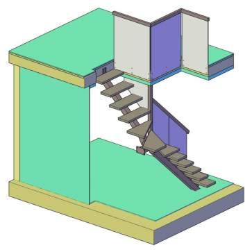 Лестница на одном косоуре с поворотом 3d -1
