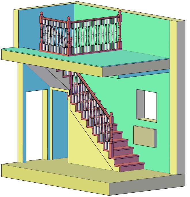3д чертеж лестницы на косоурах в доме